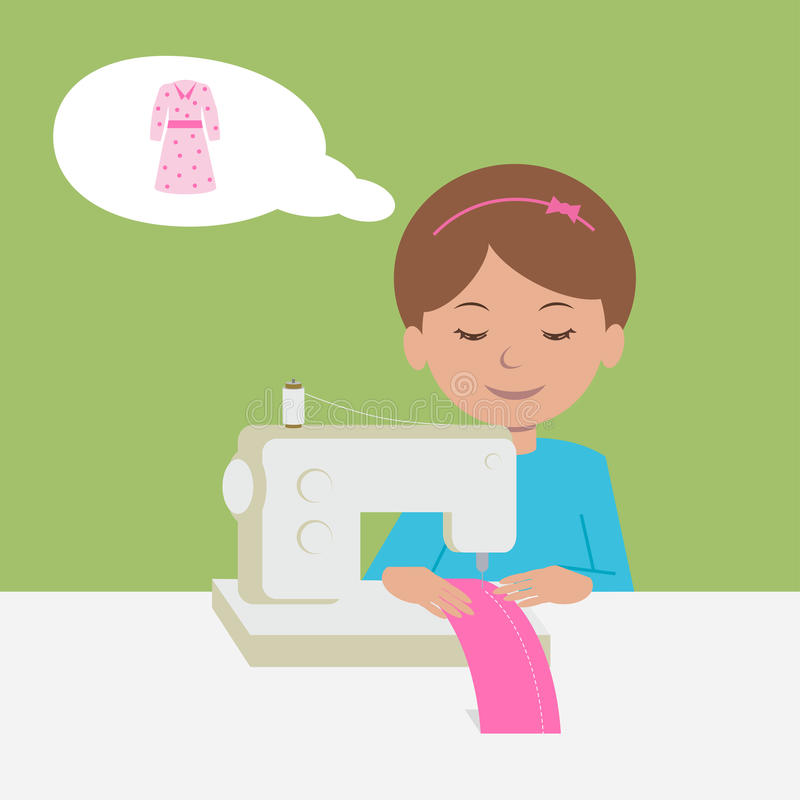 Workplace seamstress. royalty free illustration