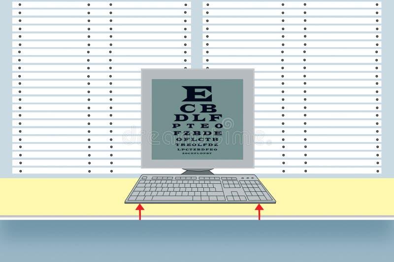 workplace Teclado e monitor no fundo das cortinas Uma tabela para verificar a vista na tela de monitor preserva??o ilustração stock