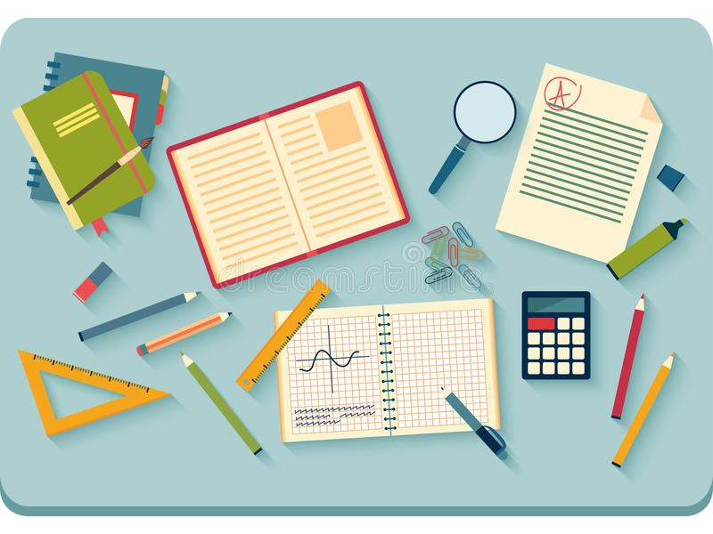 Workplace with tools. Top View stock illustration