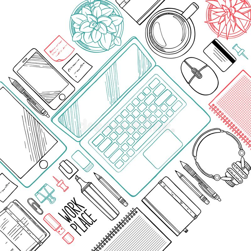 Workplace top view with work elements royalty free illustration