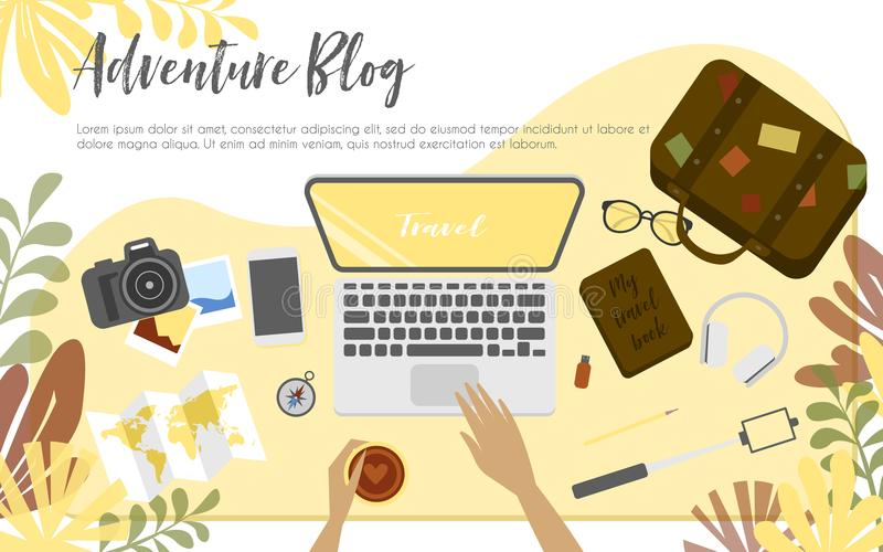 Workplace of travel blogger royalty free illustration