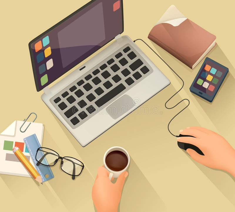 Workplace, vector background. Flat design stock illustration