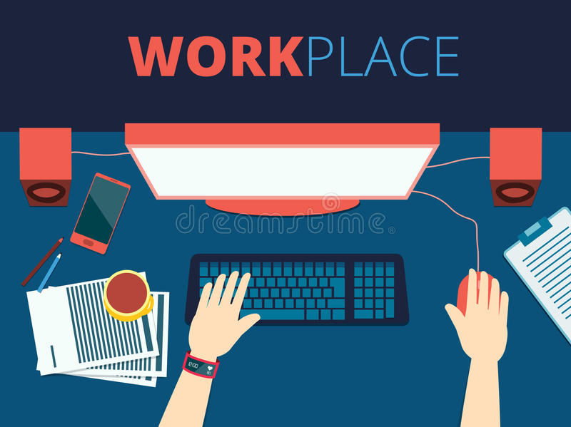 Workplace vector concept background design, with a man hands pri. Nting on a keyboard in front of a monitor, flat front lay desktop royalty free illustration
