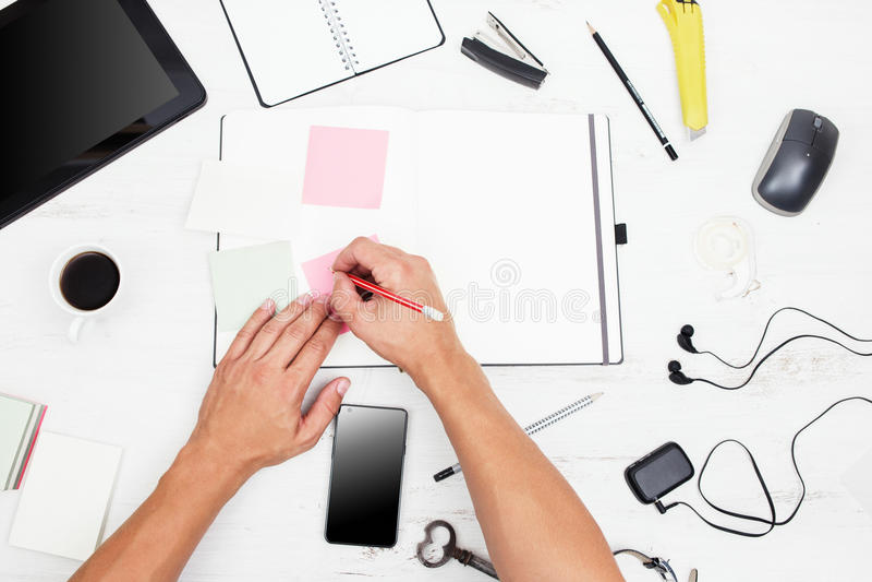 workplace Vista superiore immagine stock