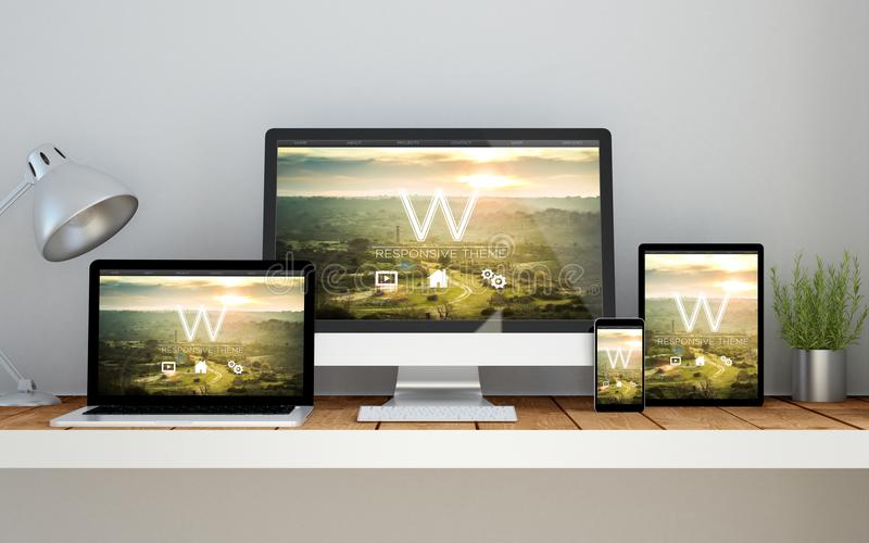 Workplace with website cms theme online responsive website on de. A computer, laptop, smartphone and tablet on a desktop workspace with responsive website on royalty free illustration