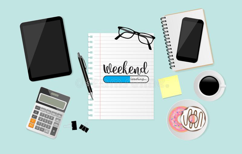 Workplace with weekend loading text on white sheet with office supplies on green background. Vector illustration. Workplace with weekend loading text on white stock illustration