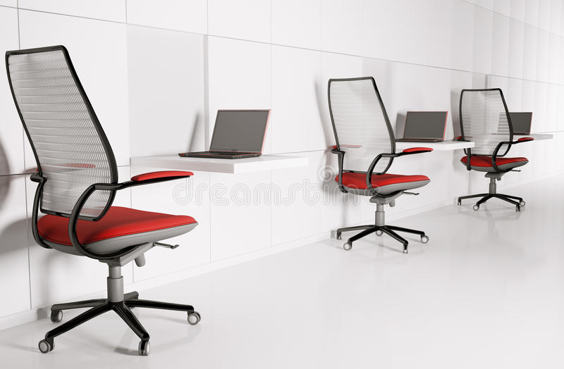 Workplace in white 3d. Workplace in white. Laptops chairs tables 3d