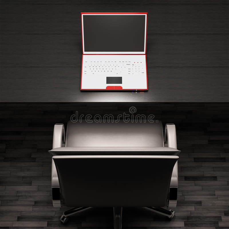 Download Workplace With White Laptop 3d Stock Illustration - Illustration: 13111081