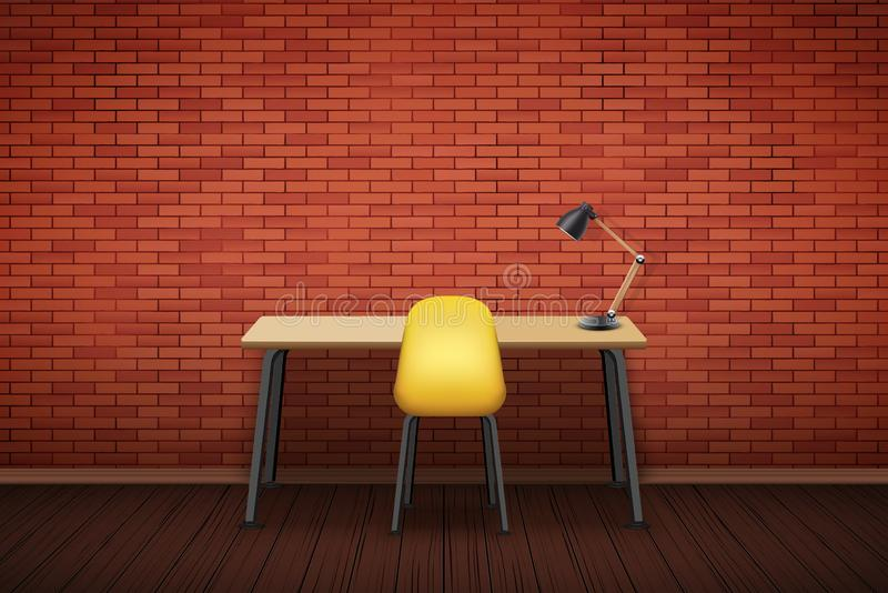 Workplace Wood table top with chair royalty free illustration