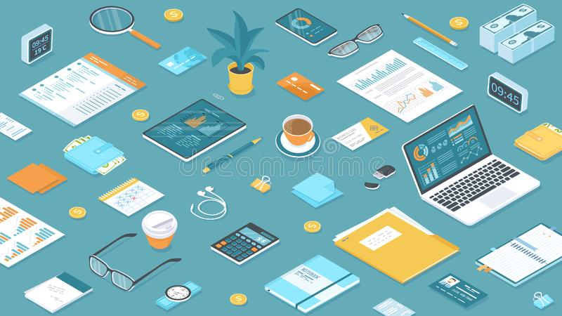 Workplace Workspace Desktop Top view of table, laptop, folder, documents, notepad. Business background Organization. Isometric royalty free illustration