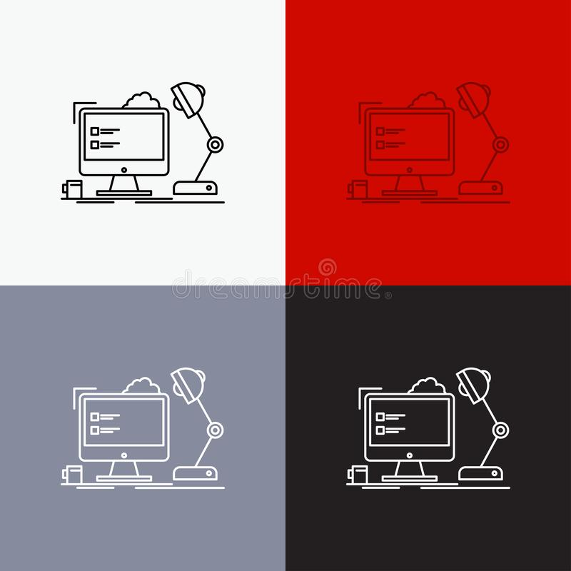 Workplace, workstation, office, lamp, computer Icon Over Various Background. Line style design, designed for web and app. Eps 10. Vector illustration. Vector royalty free illustration