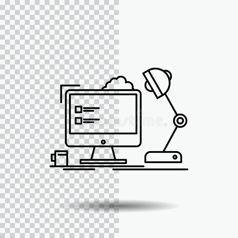 Workplace, workstation, office, lamp, computer Line Icon on Transparent Background. Black Icon Vector Illustration. Vector EPS10 Abstract Template background royalty free illustration