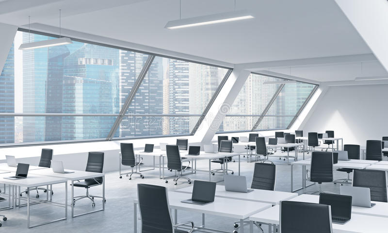 Workplaces in a bright modern open space loft office. White tables equipped by modern laptops and black chairs. Singapoere panoramic view in the windows. 3D stock illustration