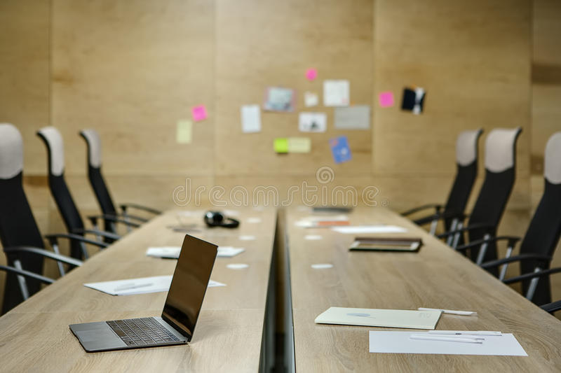 Workplaces in coworking royalty free stock photography