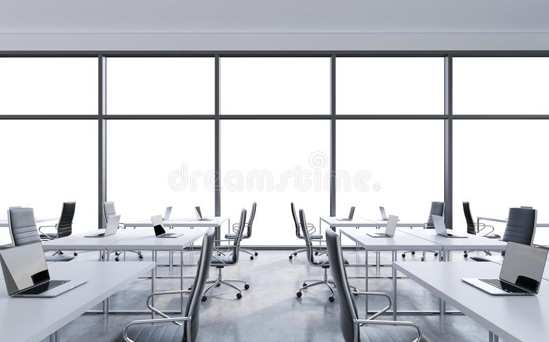 Workplaces in a modern panoramic office, copy space in the windows. Open space. White tables and black leather chairs. A concept of financial consulting vector illustration
