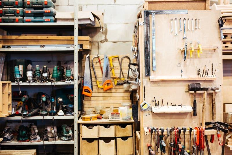 Workroom of handyman. Empty workroom with technical instruments stock images