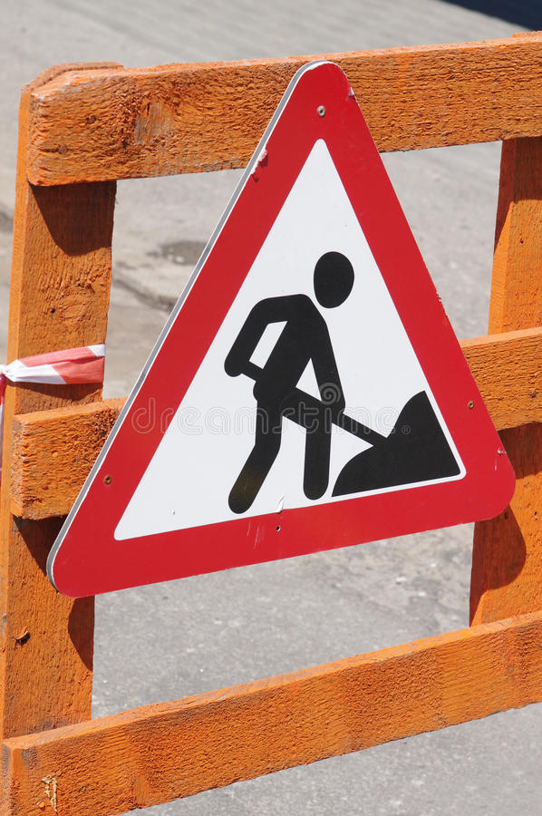 Works Ahead Warning Sign Stock Photo