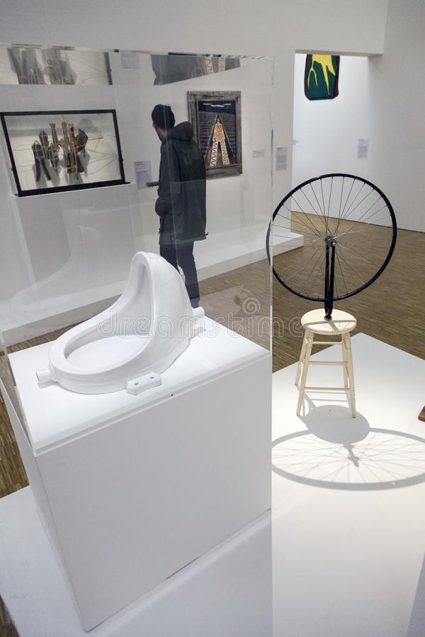 Works by marcel duchamp in centre pompidou. Works by marcel duchamp in museum centre pompidou in paris stock photo