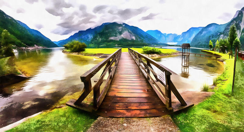 The works in the style of watercolor painting. Wooden bridge ove royalty free illustration