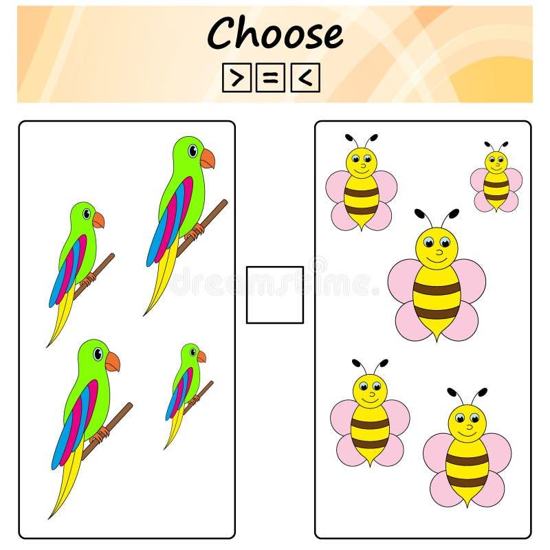 worksheet Игра для детей - выберите больше, более менее или равный Учить математику, номера Задачи для детей дошкольного возраста иллюстрация вектора