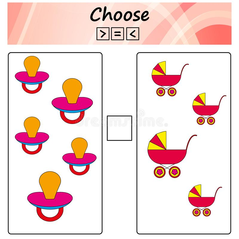 worksheet Игра для детей - выберите больше, более менее или равный Учить математику, номера Задачи для детей дошкольного возраста иллюстрация штока
