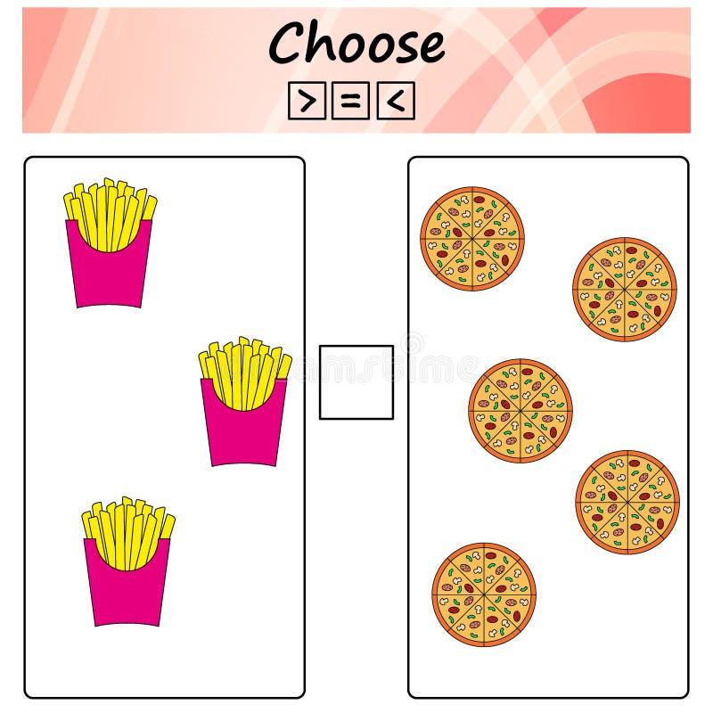 worksheet Игра для детей - выберите больше, более менее или равный Учить математику, номера Задачи для детей дошкольного возраста бесплатная иллюстрация