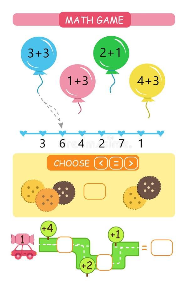 worksheet Conteggio del gioco Apprendimento matematica, le mansioni per l'asilo dell'aggiunta e dei bambini in età prescolare illustrazione vettoriale