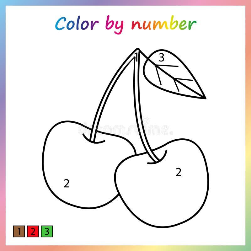 worksheet dla edukaci malować stronę, kolor liczbami gra dla preschool dzieciaków ilustracja wektor