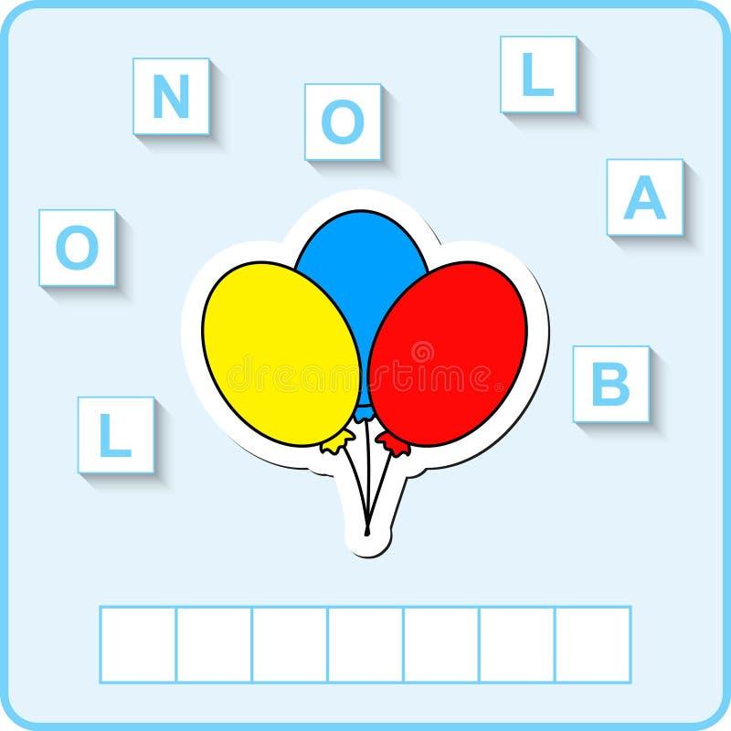 worksheet dla edukaci Słowa intrygują edukacyjną grę dla dzieci Umieszcza listy w prawym rozkazie royalty ilustracja