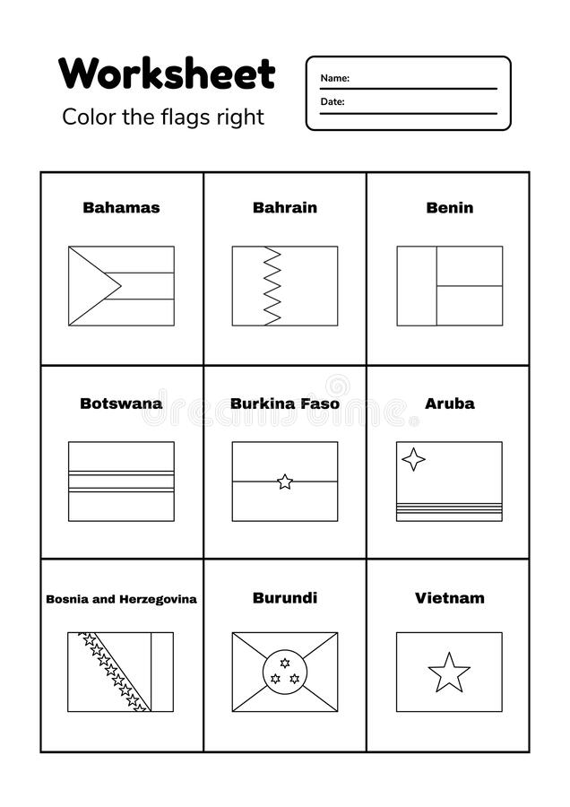 - Worksheet On Geography For Preschool And School Kids. Color The Flags  Right. Coloring Page Stock Illustration - Illustration Of Geography,  Isolated: 164824411