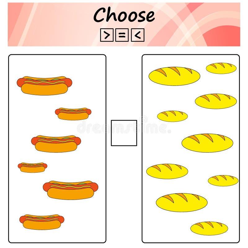 worksheet Juego para los niños - elija más, menos o el igual Aprendizaje de matemáticas, números Tareas para los niños preescolar stock de ilustración