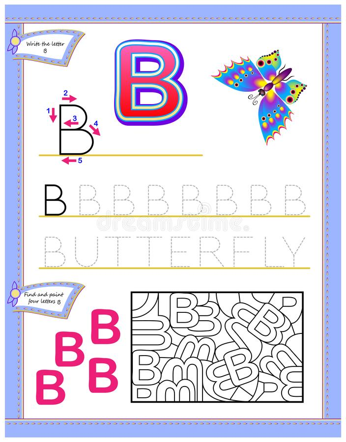 Worksheet for kids with letter B for study English alphabet. Logic puzzle game. Developing children skills for writing and reading. Vector cartoon image. Scale vector illustration