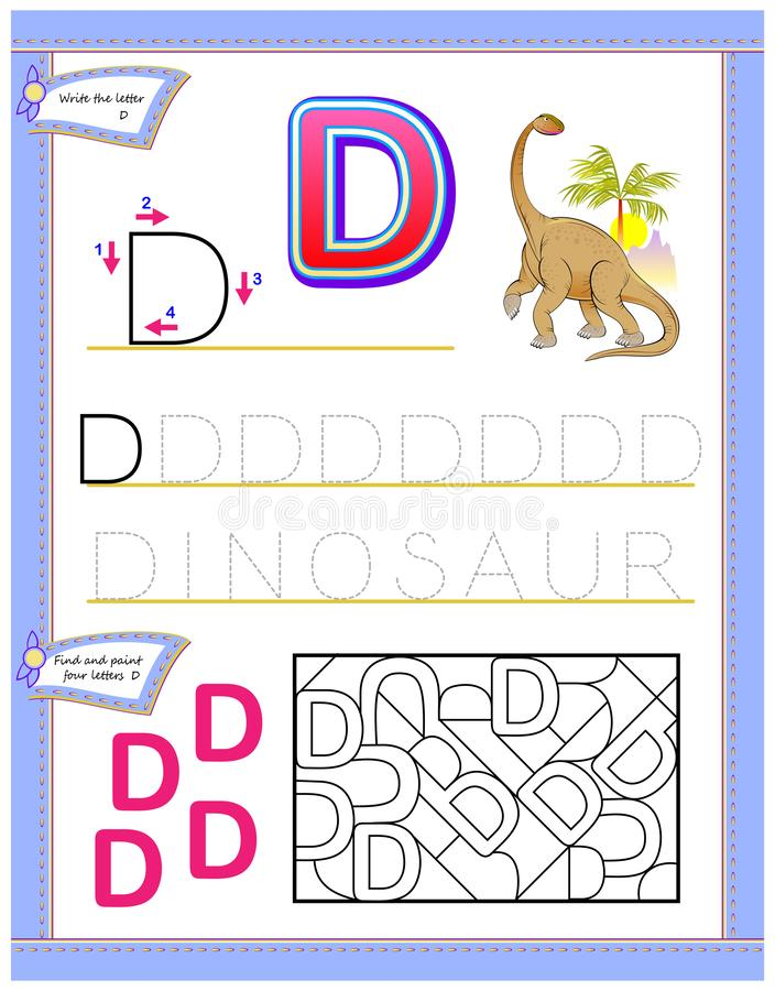 Worksheet for kids with letter D for study English alphabet. Logic puzzle game. Developing children skills for writing and reading. Vector cartoon image. Scale vector illustration