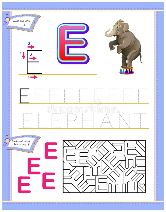 Worksheet for kids with letter E for study English alphabet. Logic puzzle game. Developing children skills for writing and reading. Vector cartoon image. Scale vector illustration