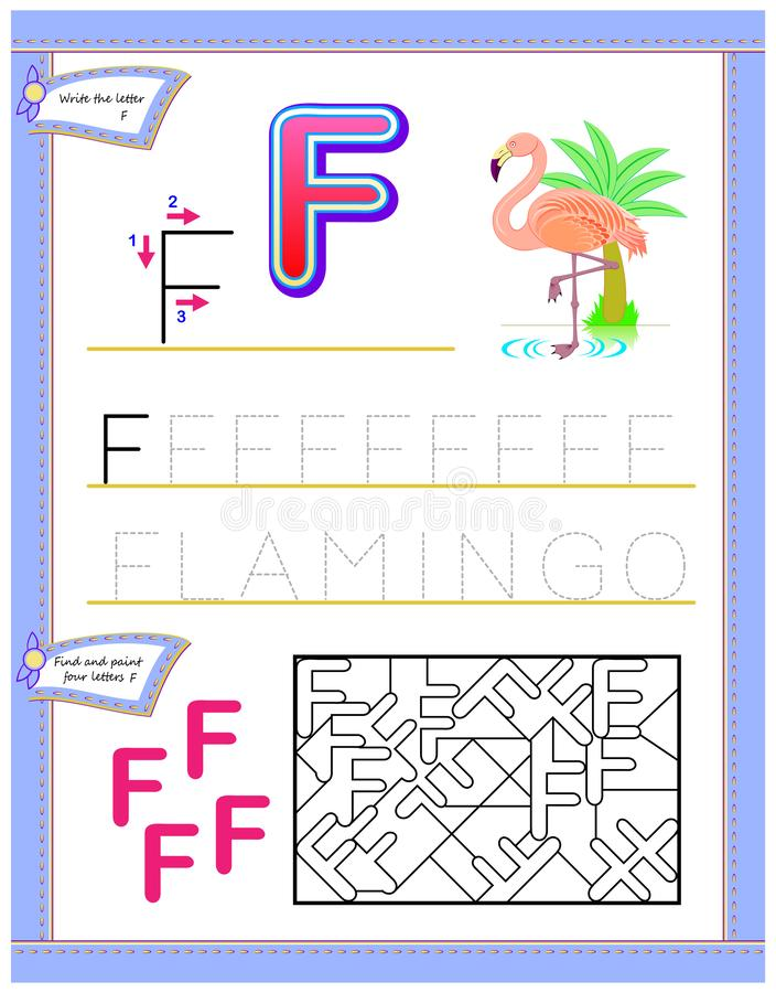 Worksheet for kids with letter F for study English alphabet. Logic puzzle game. Developing children skills for writing and reading. Vector cartoon image. Scale royalty free illustration