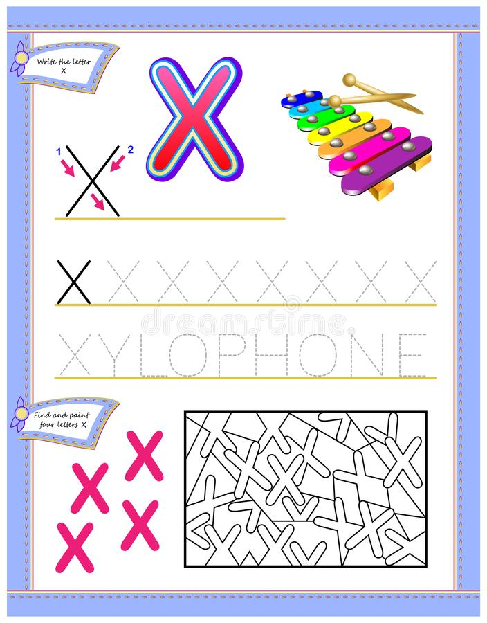 Worksheet for kids with letter X for study English alphabet. Logic puzzle game. Developing children skills for writing and reading. Vector cartoon image. Scale vector illustration