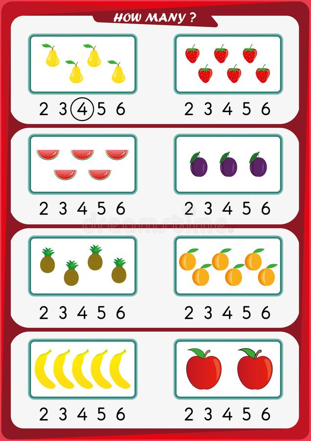 Worksheet For Kindergarten Kids, Count The Number Of Objects, Learn ...