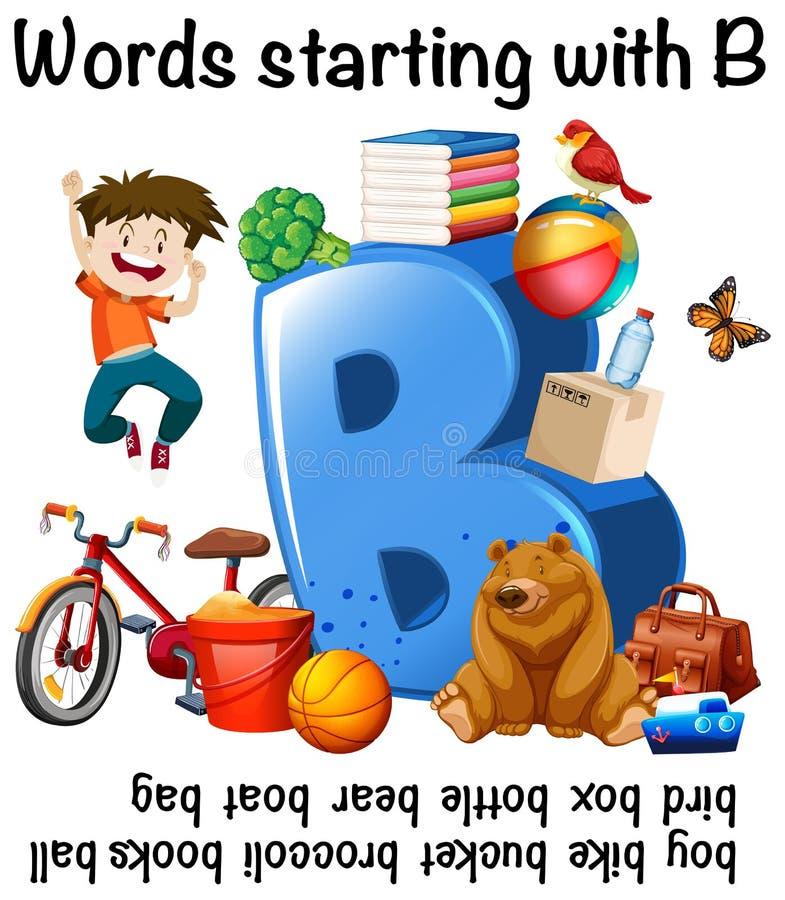 Worksheet projekt dla słów zaczyna z b ilustracja wektor
