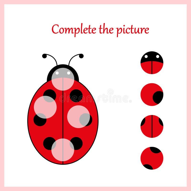 worksheet Rompecabezas visual de la lógica: Encuentre el pedazo que falta - desconcierte el juego para los niños, niños libre illustration