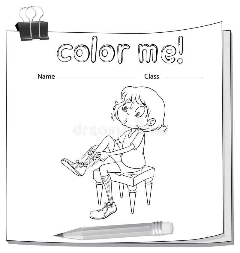 A worksheet showing a girl fixing her shoes royalty free illustration