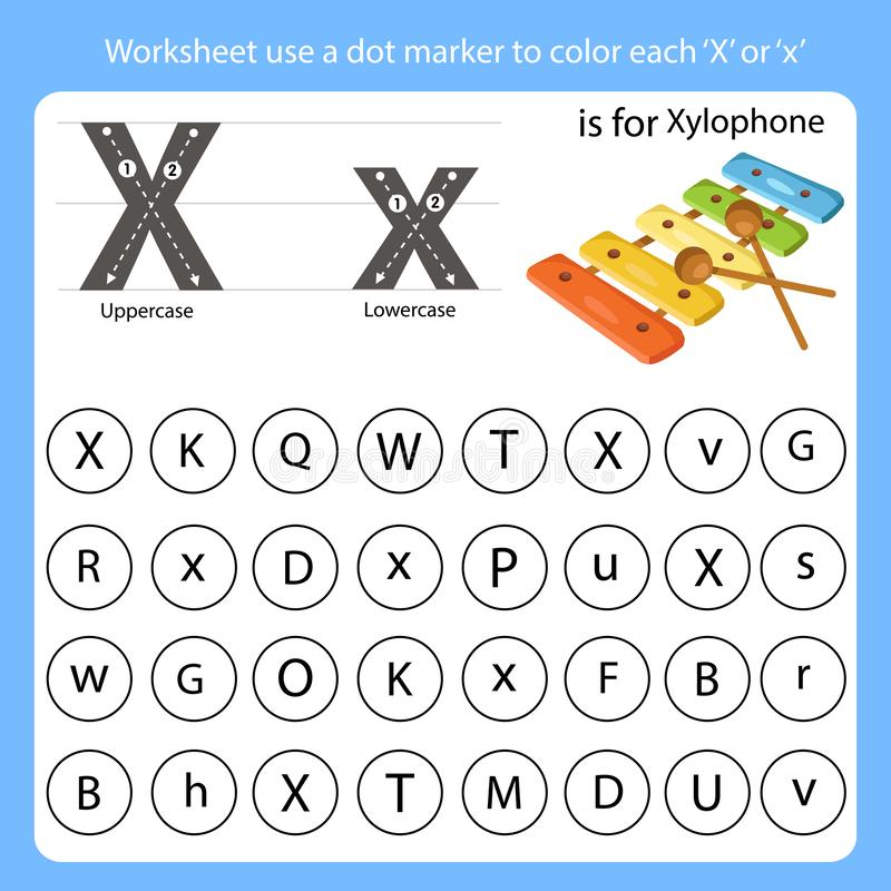 Free Worksheet Use A Dot Marker To Color Each X Stock Photo - 142560340