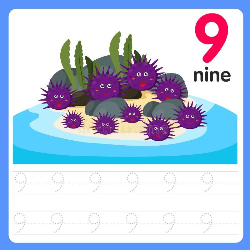 Worksheet Writing practice number nine. Worksheet Writing practice number for kid and education vector illustration