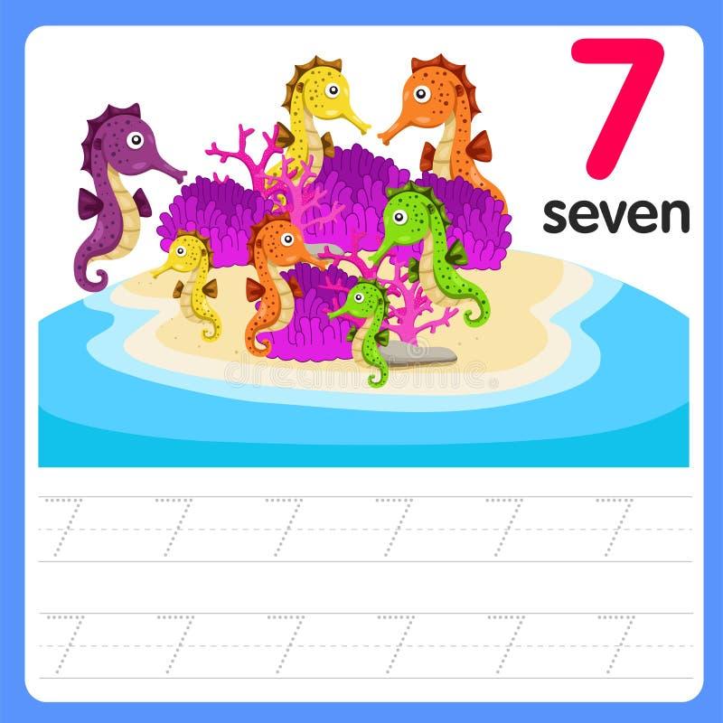 Worksheet Writing practice number seven. Worksheet Writing practice number for kid and education stock illustration