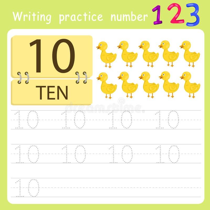 Worksheet Writing practice number ten. For education vector illustration