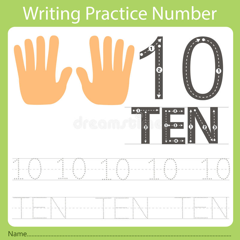 Worksheet Writing practice number ten. Isolated for education royalty free illustration