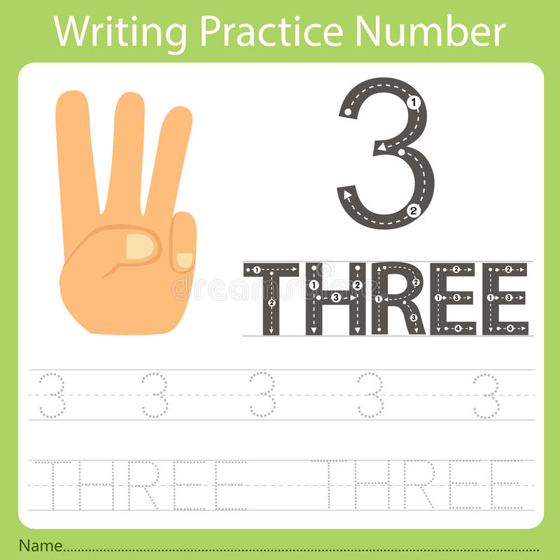 Worksheet Writing practice number three. Isolated for education vector illustration