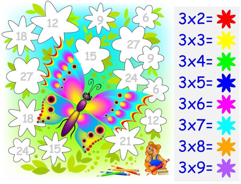 Worksheet z ćwiczeniami dla dzieci z mnożeniem trzy ilustracja wektor