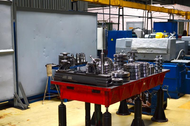 Workshop of a automotive factory for the production of automotive gear, spare parts and components. Production of gears for automobile gearboxes for trucks royalty free stock photography