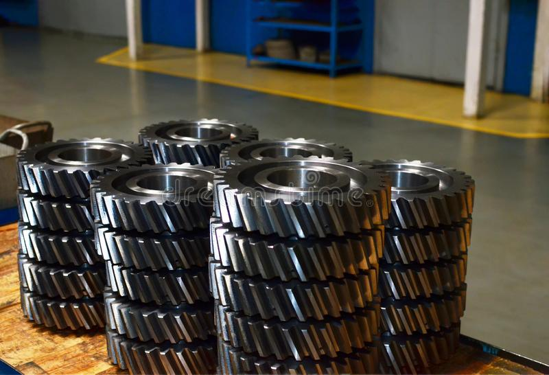 Workshop of a automotive factory for the production of automotive gear, spare parts and components. Production of gears for automobile gearboxes for trucks stock images