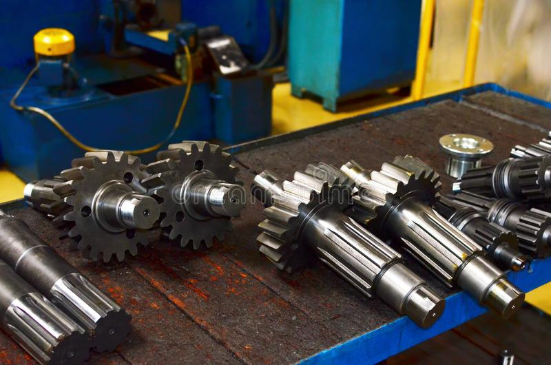 Workshop of a automotive factory for the production of automotive gear, spare parts and components. Production of gears for automobile gearboxes for trucks stock photo